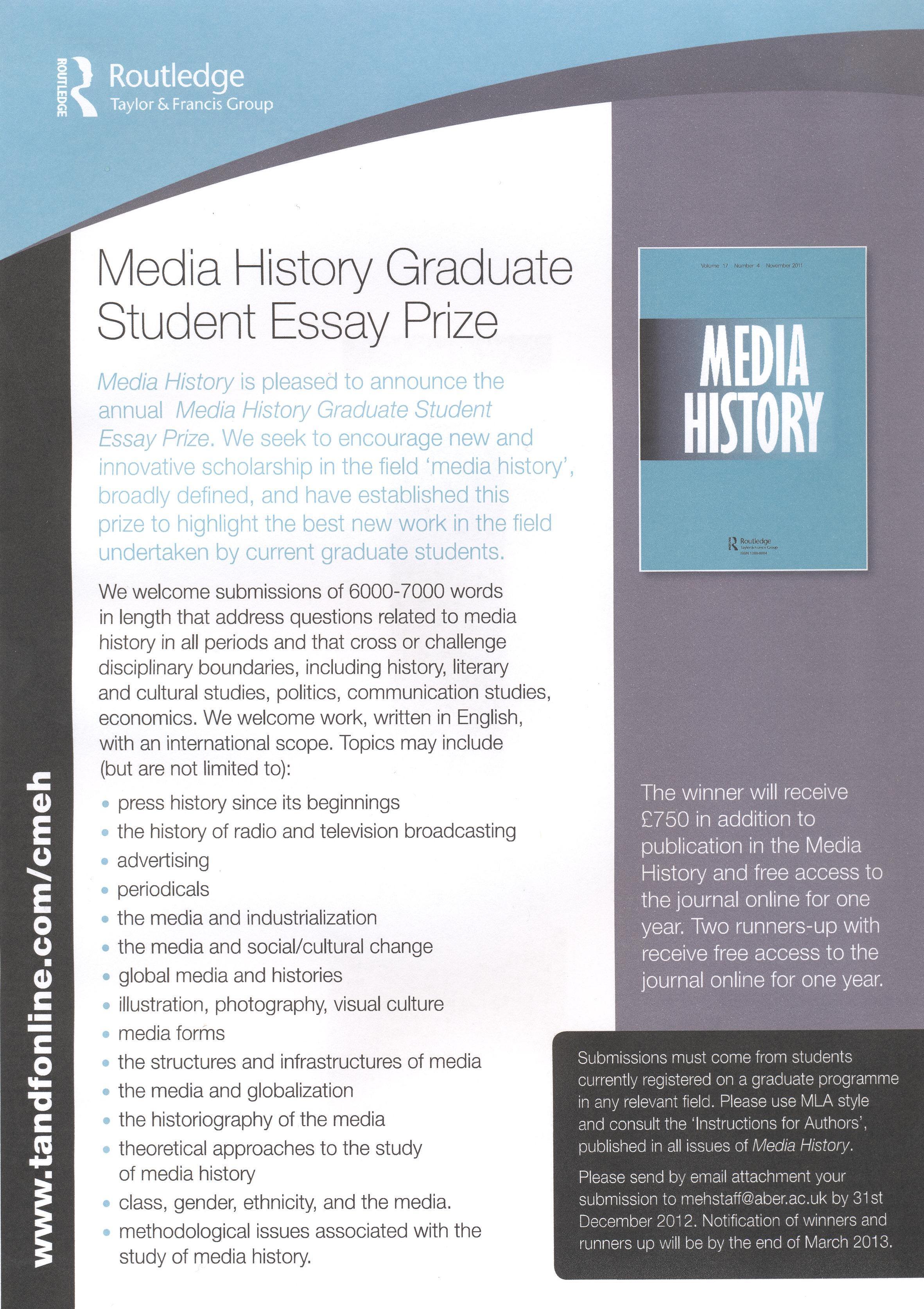 media history graduate student essay prize
